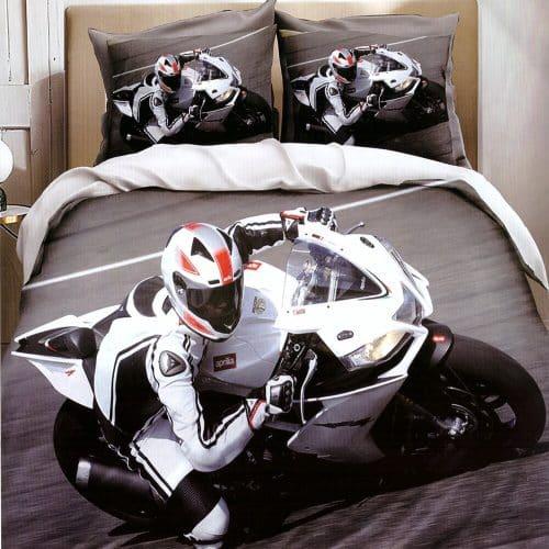pamut ágynemű fehér sportmotor minta