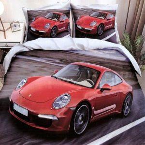 pamut ágynemű piros sportkocsi minta