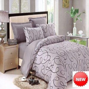 pamut ágynemű szürke színben klasszikus minta