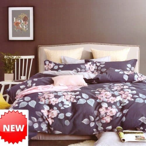 pamut ágyneműhuzat szürke alapon barack virágokkal