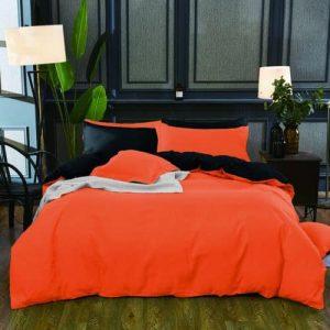 Pamut Ágynemű Élénk Narancs Fekete