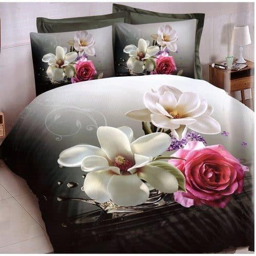 szürke alapon rózsa és virágok ágyneműhuzat