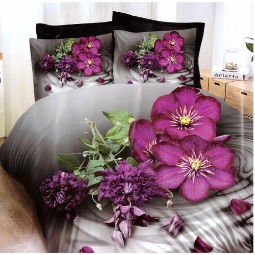 szürke színben mályva virágok pamut ágynemű