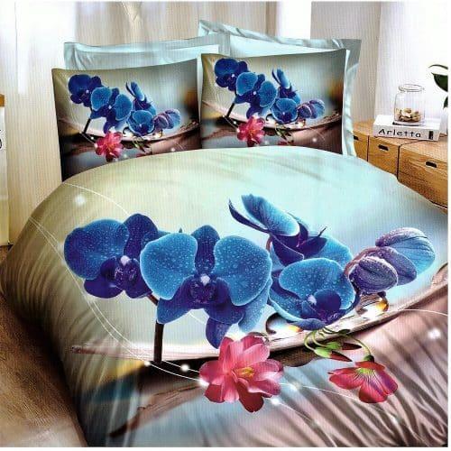 világos alapon kék virág pamut ágynemű