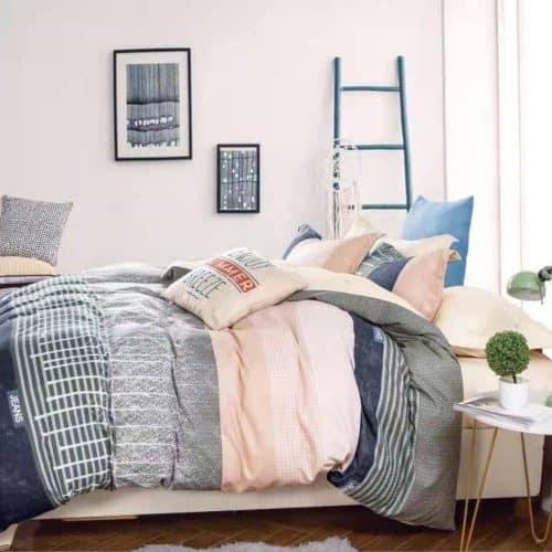 barack és szürke csíkos pamut ágynemű