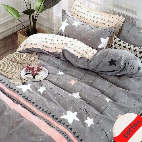 csillagokkal szürke színben pamut ágynemű
