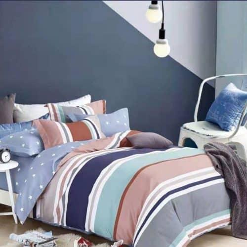 élénk színekben pamut ágynemű csíkos mintával