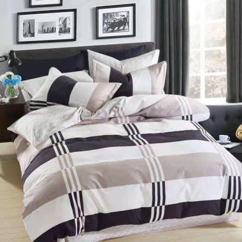 fehér kék és szürke mintával ágynemű
