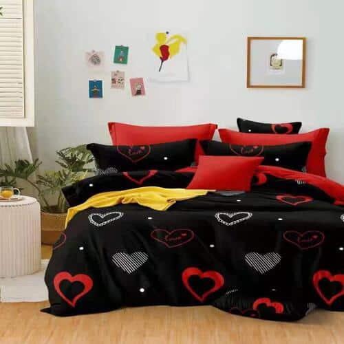 fekete piros szív mintás ágyneműhuzat