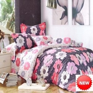 pamut ágynemű szürke alapon színes virágok