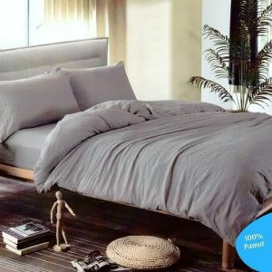 szürke egyszínű minta nélküli pamut ágynemű