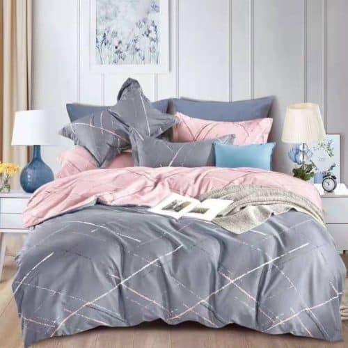 szürke és rózsaszín klasszikus mintával