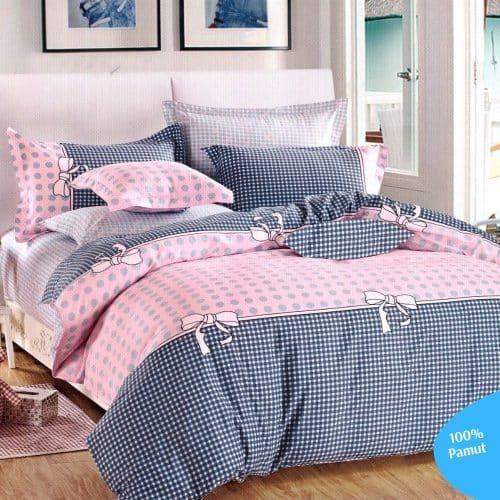 szürke és rózsaszín mintás pamut ágyneműhuzat