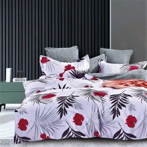 világos alapon piros virágok pamut ágynemű