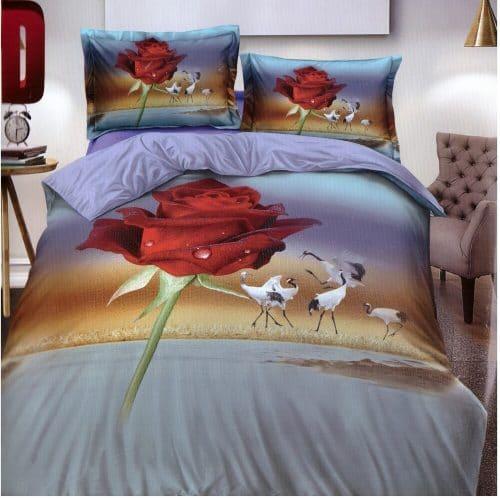 vörös rózsa és madarak ágyneműhuzat