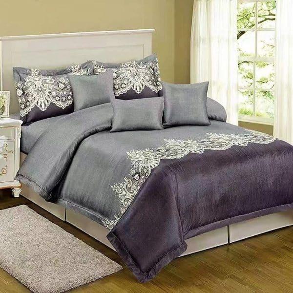 Pamut szürke színben klasszikus mintával ágynemű