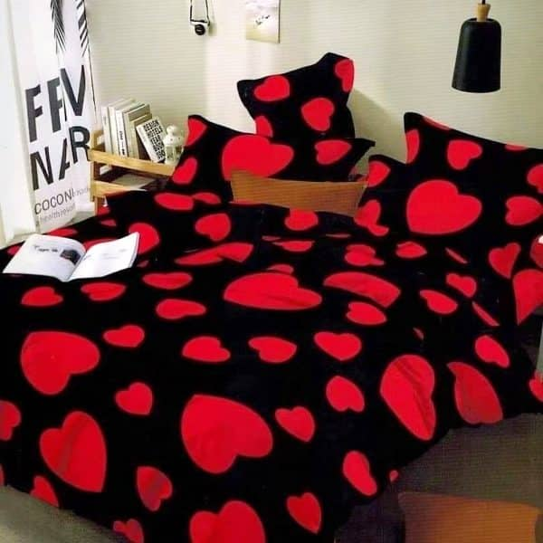fekete piros pamut ágynemű szivecske mintával