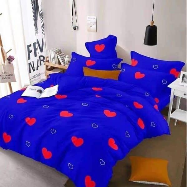kék piros szivecske mintás ágyneműhuzat