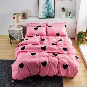 rózsaszín fekete szivecske mintás pamut ágynemű