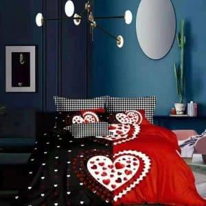 Fekete piros nagy szívvel pamut ágynemű