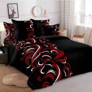 Fekete alapon klasszikus mintával pamut ágynemű