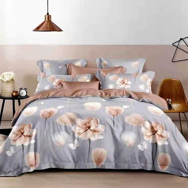 Halvány szürkés kék bézs virágokkal ágynemű