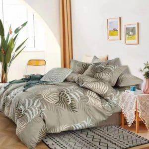 Pamut ágynemű szürke alapon levelek minta