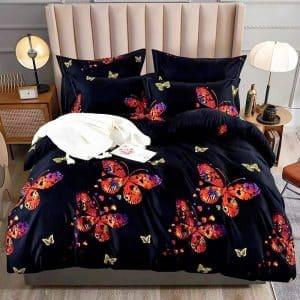 Pamut fekete alapon színes pillangó mintával