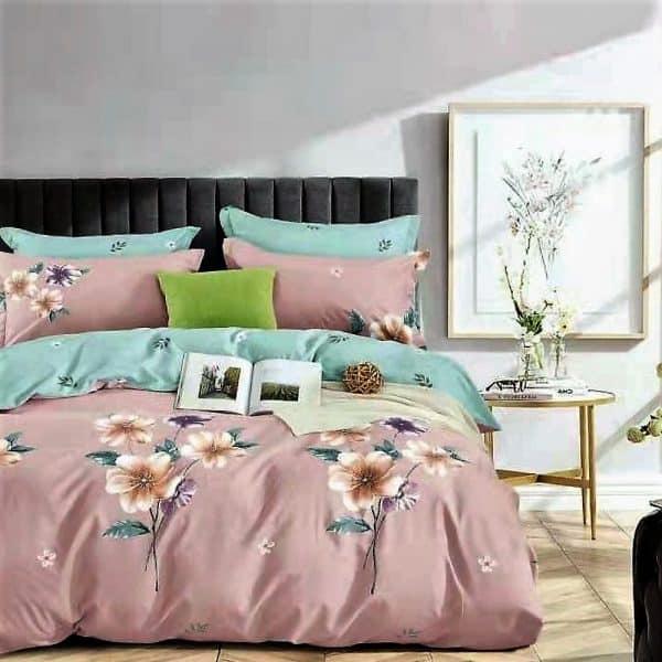 Rózsaszín zöld virág mintás pamut ágynemű
