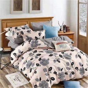 Szürke virágok krém színben pamut ágynemű