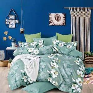 Zöld színben fehér virágokkal ágyneműhuzat