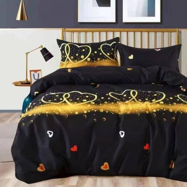 arany szív mintával fekete színben ágynemű