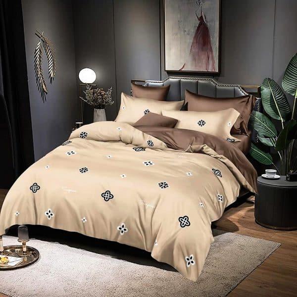 bézs barna virág mintás pamut ágynemű