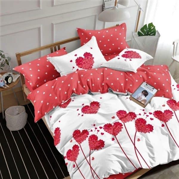 fehér rózsaszín szív mintás pamut ágynemű