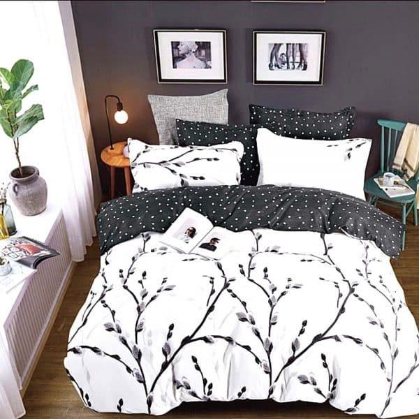fekete fehér ág mintával pamut ágynemű