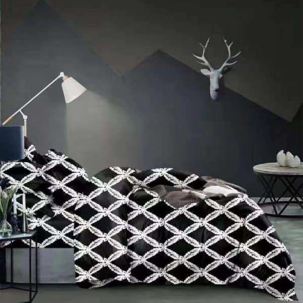 fekete fehér színben klasszikus minta ágyneműhuzat