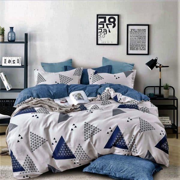 háromszög minta kék színben pamut ágynemű