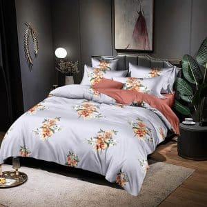 krém alapon virágokkal mintás ágyneműhuzat