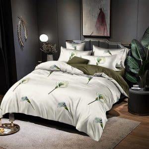 krém és barna virág mintával ágyneműhuzat