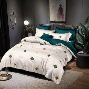 krém zöld apró virágos pamut ágynemű