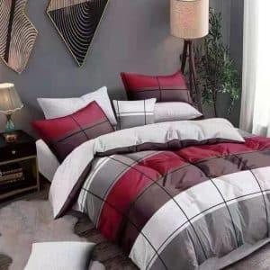 négyzet minta szürke bordó színekben ágynemű