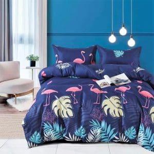 pamut ágynemű kék színben rózsaszín flamingóval