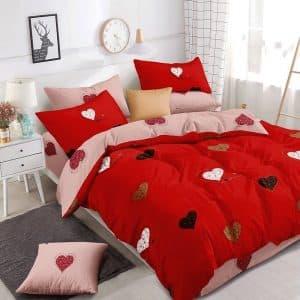 piros krémszín szivecskés mintás ágyneműhuzat