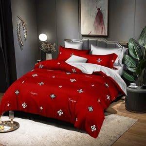 piros pamut ágynemű apró virág minta