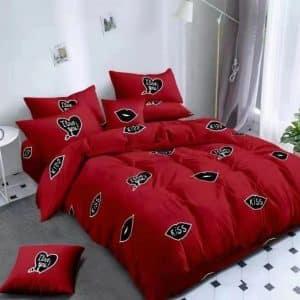 piros színben fekete mintával pamut ágynemű