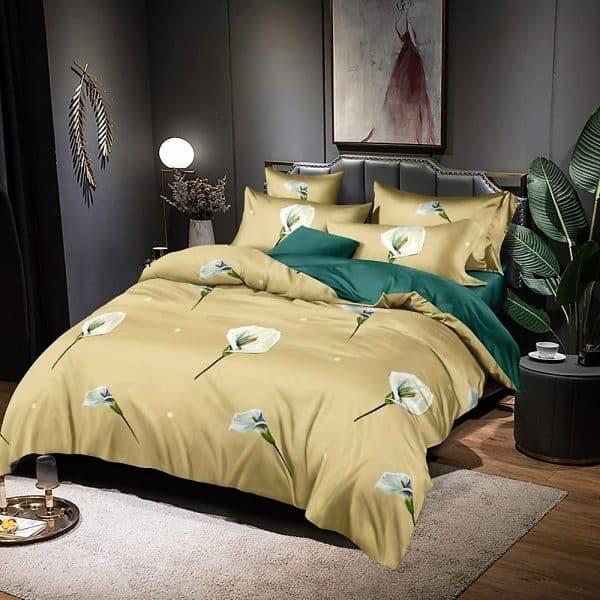 sárga zöld virág mintával ágyneműhuzat