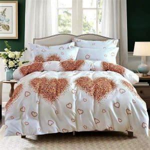 szivecske aranybarna színben pamut ágynemű