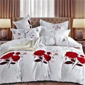 vörös rózsa mintával pamut ágyneműhuzat