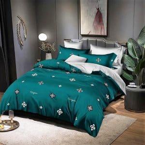 zöld és ezüst pamut ágynemű virágokkal