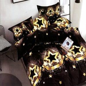 csillag mintával sötét színben pamut ágynemű
